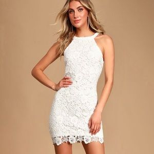 Lulus Formal Floral Lace Cute Halter Bodycon Dress